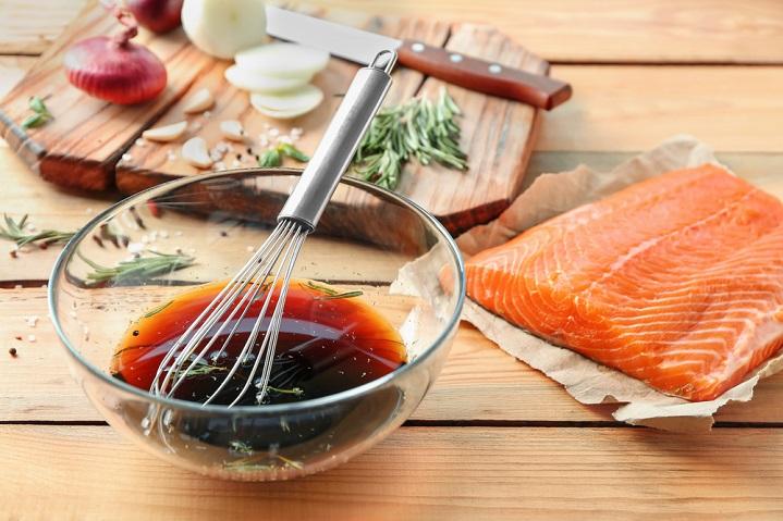 salmon teriyaki and sweet potato mash