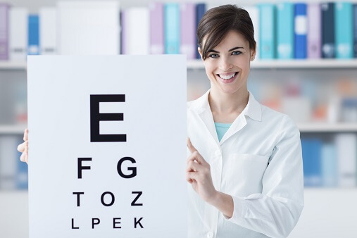 What happens in an eye test?