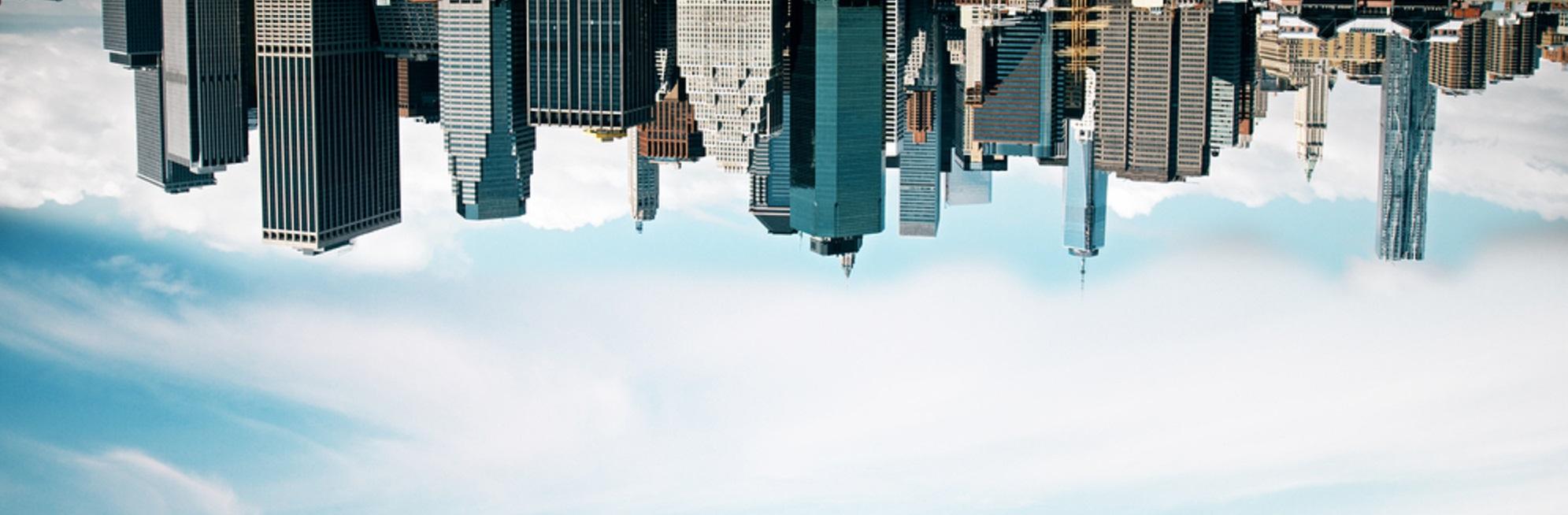 a city skyline upside down