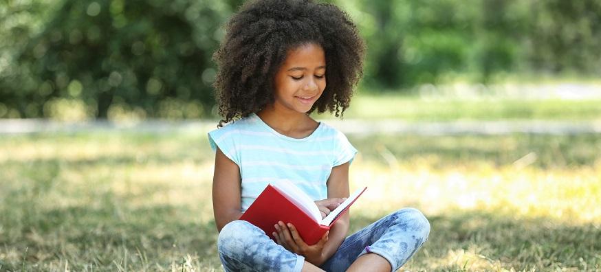 black female child reading