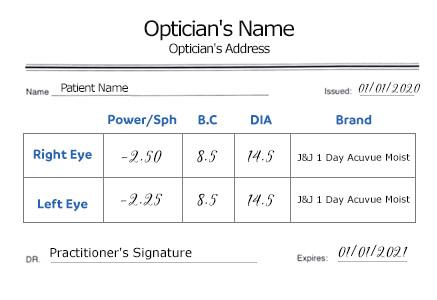 contact lenses prescription