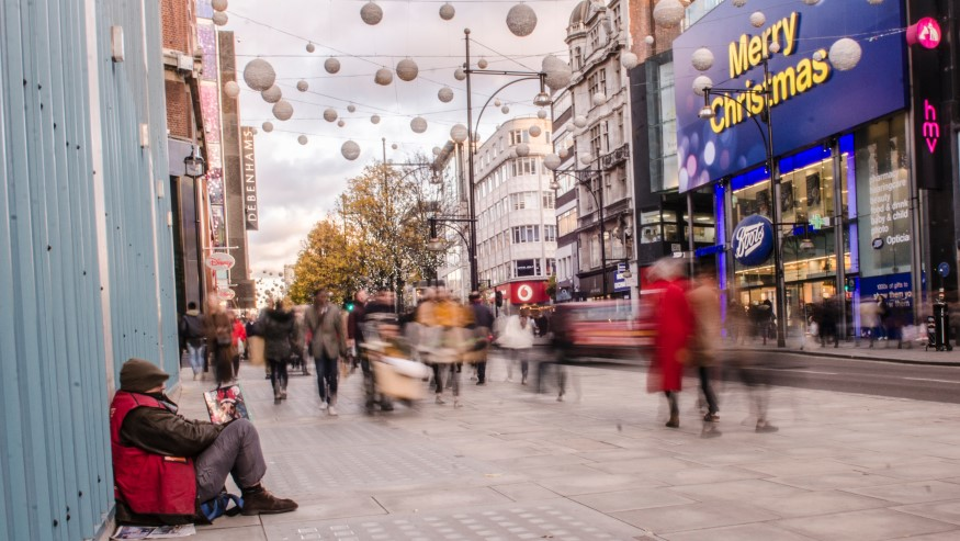 Homeless Man in Oxford Street at Christmas