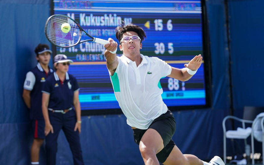 hyeon chung wearing glasses and playing tennis