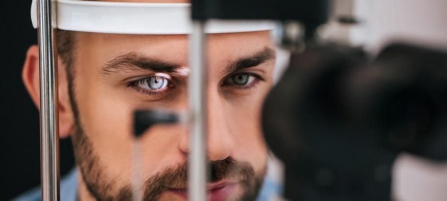 a man having a sight test