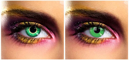 Green coloured lenses
