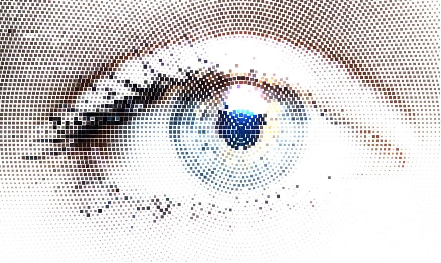 pixelated human eye