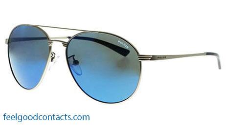 blue mirrored police sunglasses