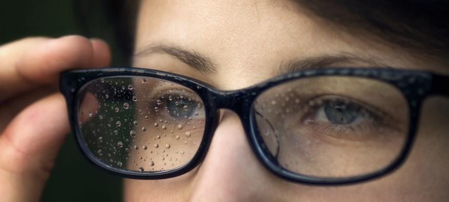rain droplets on glasses