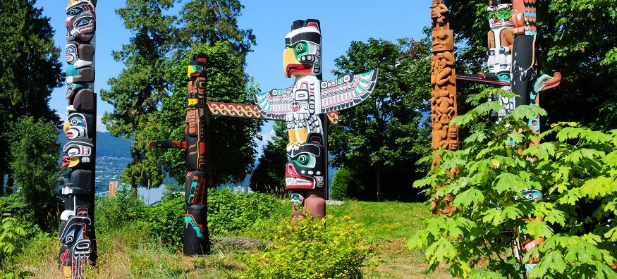 totem poles in Stanley Park in Vancouver Canada