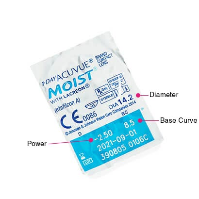 1 Day Acuvue Moist (90 Pack) Parameters