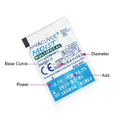 1 Day Acuvue Moist Multifocal Parameters