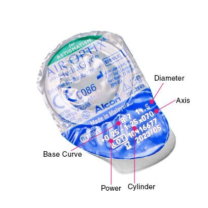 Air Optix Plus HydraGlyde for Astigmatism Parameters