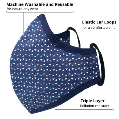 Feel Good Face Mask Navy Triangle