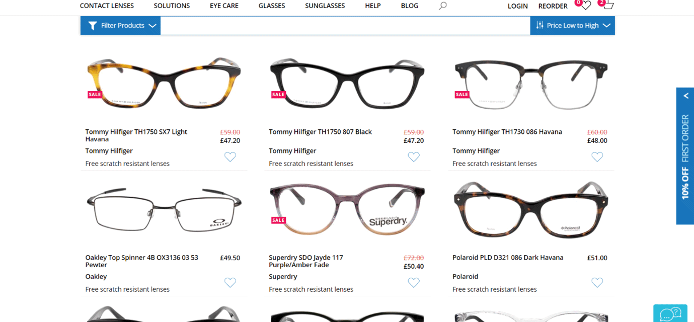 choose the pair of glasses